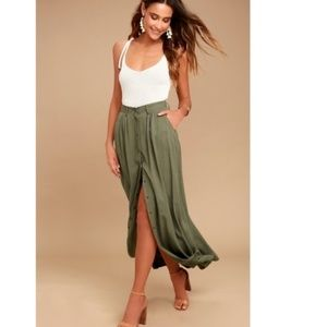 Pistola Green Button Front Long Maxi Skirt XS
